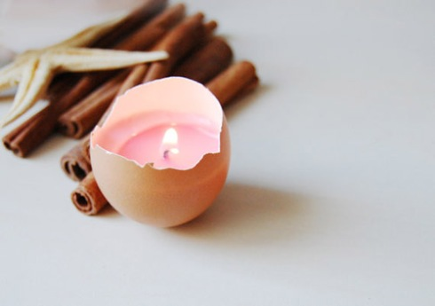 Easter Egg Candle - Real Eggshell Candle Pink Vegetable Wax Candle Eco-friendly